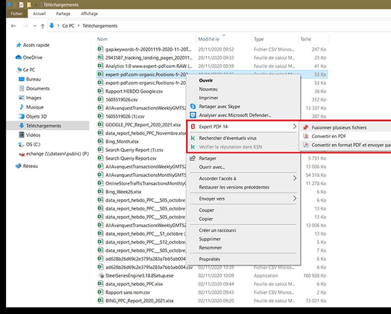 Conversion par simple clic droit, des fichiers; pour un...
