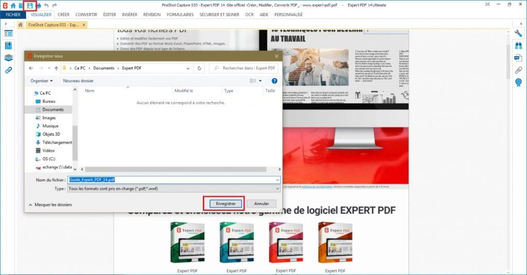 Nommez le fichier PDF crée et enregistrez-le à l'emplacement de votre choix ou partagez-le directement par mail depuis le logiciel.