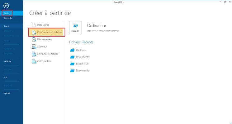 Cliquez sur Créer dans le menu Fichier et choisissez Créer à partir d'un fichier.
