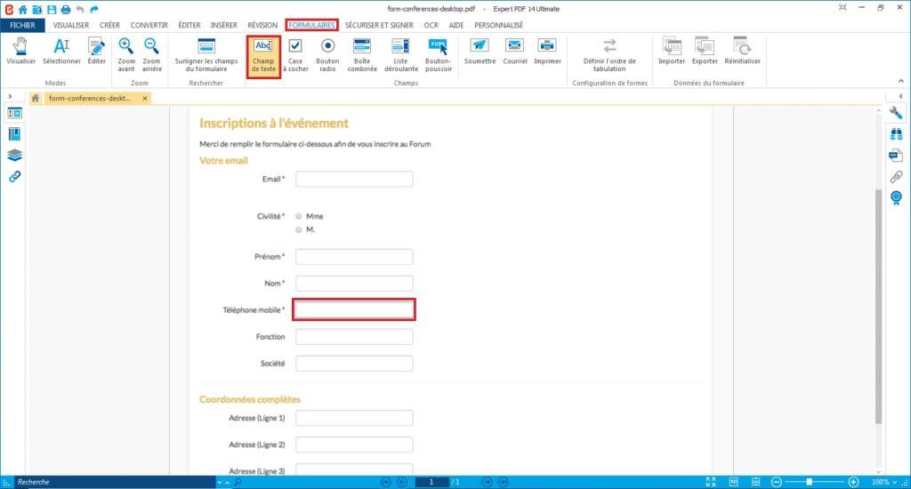 Pour ajouter un champ de saisie sur votre formulaire PDF, cliquez sur l'outil que vous souhaitez insérer depuis le groupe Champs de l'onglet Formulaires et cliquez sur le document pour positionner votre champ.