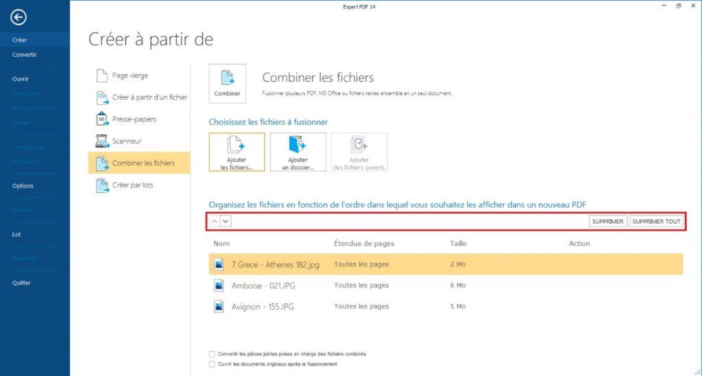 Utilisez les flèches sur le côté de la boite de dialogue pour gérer l'ordres des images à combiner dans le nouveau PDF.