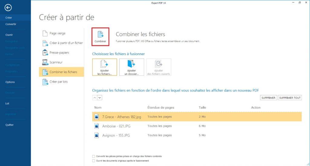 Une fois que vous avez ajoutez toutes les images à regrouper pour créer PDF, cliquez sur le bouton Combiner les fichiers pour commencer la création PDF.