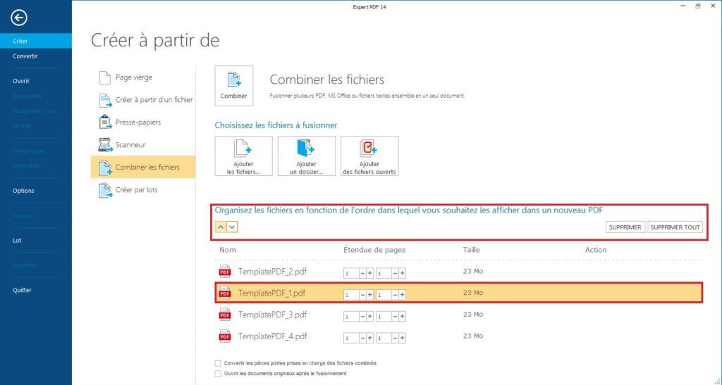 Une fois que tous vos PDF sont positionnés dans le bon ordre, cliquez sur le bouton Combiner les fichiers pour commencer la création PDF.