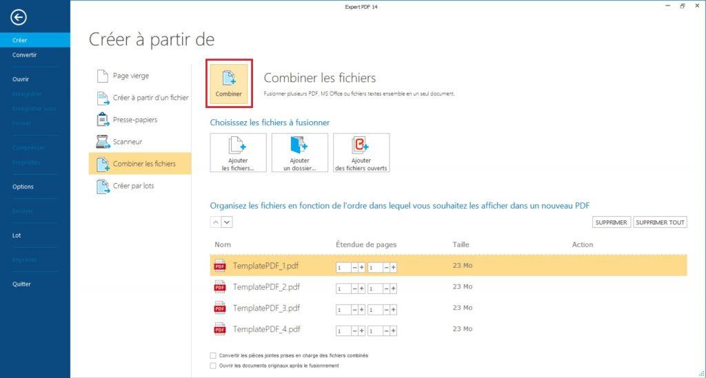 Utilisez les flèches sur le côté de la boite de dialogue pour gérer l'ordre des fichiers PDF à combiner dans le nouveau PDF.