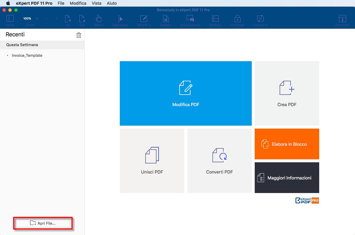 """Pulsante Apri></p><li>Cliccare su """"File"""" > """"Apri"""" o """"Apri Documenti Recenti"""" dal menu superiore per aprire un nuovo PDF o un PDF aperto di recente.</li><p><img src=https://www.expert-pdf.com/it/wp-content/uploads/sites/3/2018/04/Top_Menus_1-1.png style=width:90%;height:90%; alt="""